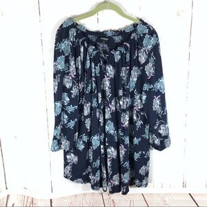 Lucky Brand Blue Purple Floral Boho Tunic Top